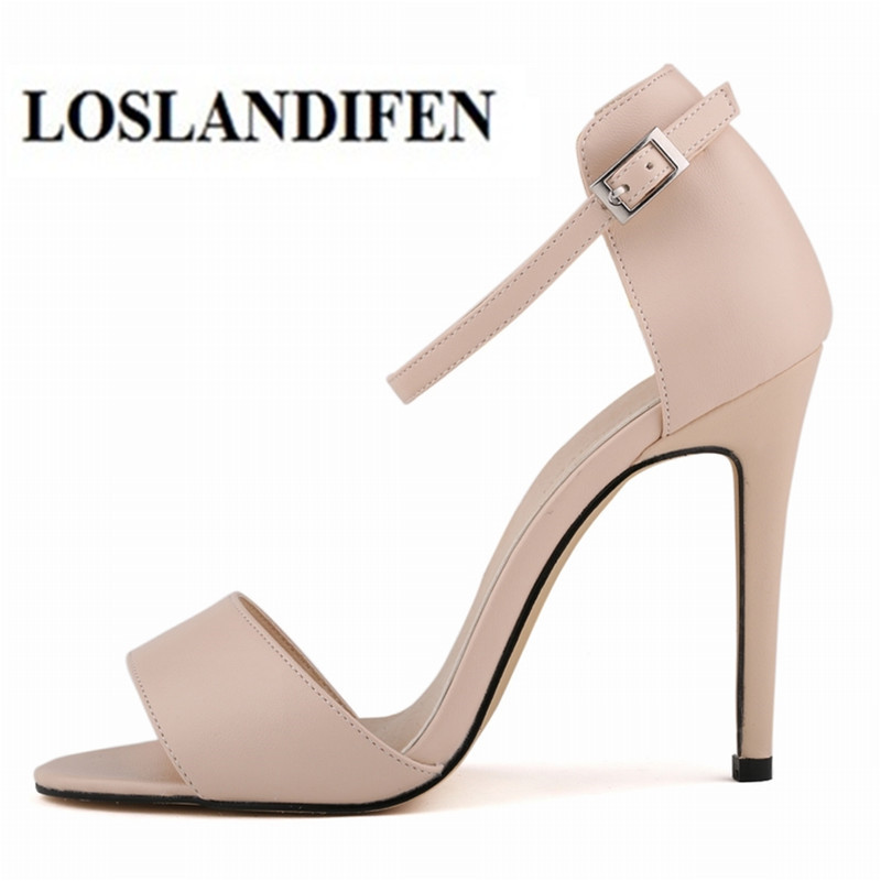 LOSLANDIFEN Summer Open Toe Ankle Straps Sandals Women Shoes 11 cm High Heels Shoes Peep Toe Sandal Party Wedding Nude Chaussure loslandifen new ankle strap women sandals casual patent leather red high heels shoes open toe lady summer sandal mujer sandalias