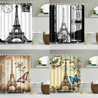 Vintage Eiffel Tower Fabric Waterproof Bathroom Shower Curtain With 12 Hooks HOMTZ0004