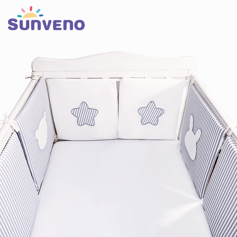 SUNVENO Baby Bed Bumper Newborn Bumpers Baby Room Crib Cotton Infant  Comfortable Baby Bumper 6pcs/Set Bedding Set