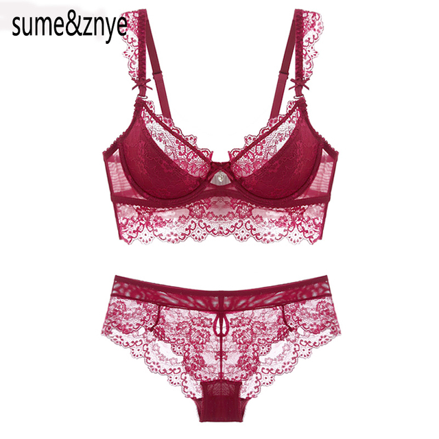 Wine Red Lace Bra Adjustment Ultra-thin Side Gathering Push Up Women's Bra Briefs Set