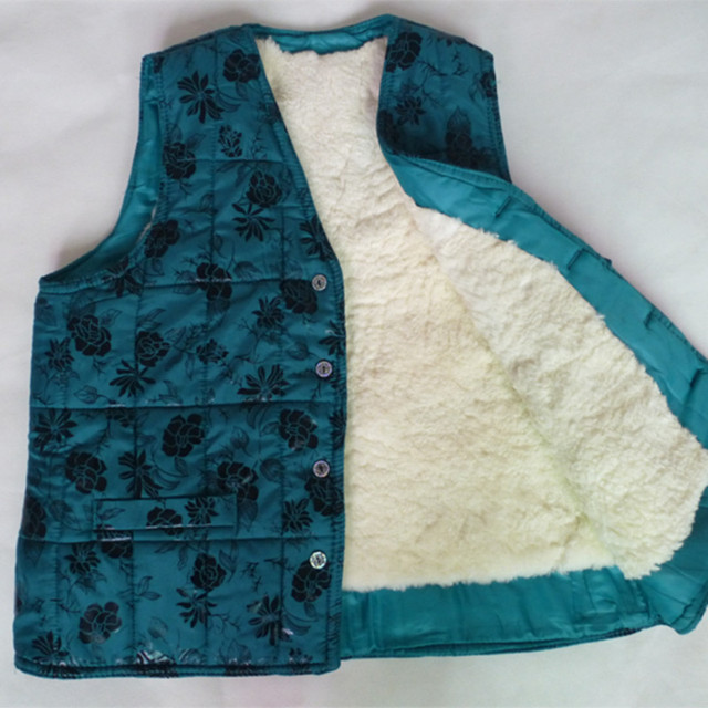 Осень и зима пятидесяти лет женщины в мех жилет шерсть lining жилет овчина тепловой жилет тб