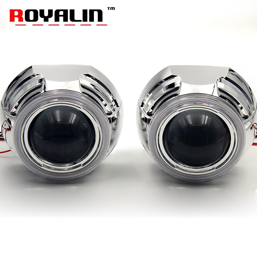 2 5 3 0 Bi Xenon HID Projector Headlights Lenses With White COB Angel Eye LEDs