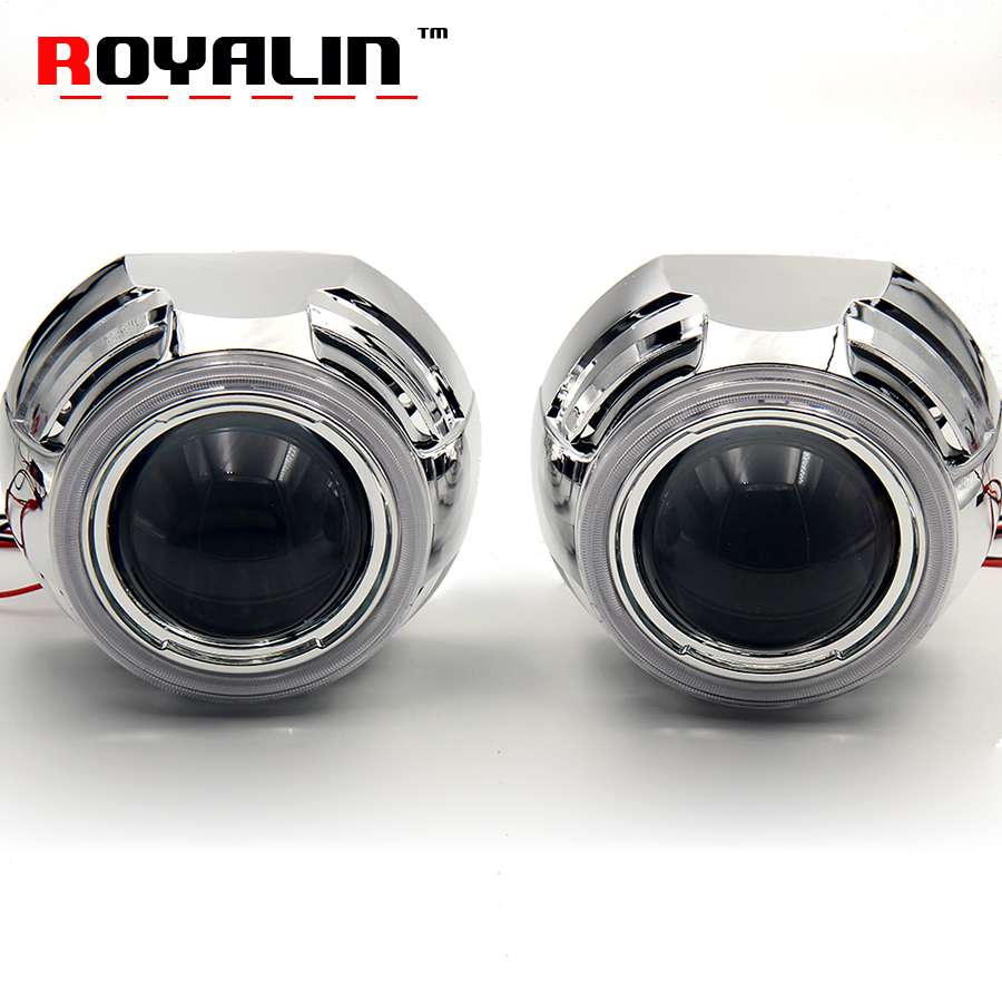 ROYALN 3.0 Metal H1 Bi Xenon Lens HID Projector Headlights Apollo COB Angel Eye LED Daytime Running Lights for H4 H7 Car Styling