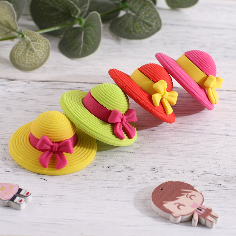 1 Pcs Cute Cartoon Straw Hat Eraser Student Painting Correction Stationery Kawaii Child Beautiful Toy Prizes Student Supplies