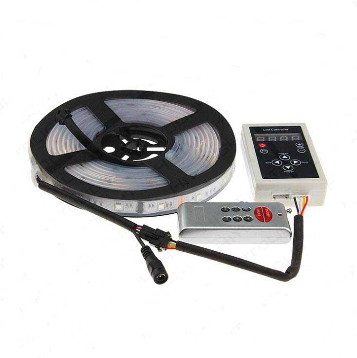 DC12V 5 m RGB LED bande lumière intelligente 1903 IC 5050 SMD rvb LED pixels bande adressable numérique IP67 étanche + RF télécommande