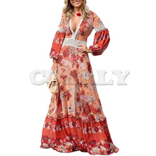 CUERLY Women Long Sleeve Maxi Dresses Boho Ethnic Pink Loose Print Floral Female Frill Hem Pleated Plus Size Beach Long Dress