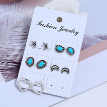 L&H 5Pairs/Set Oval Blue Natural Stone Stud Earrings Set Delicate Moon For Women Bohemian Hollow Heart Ear Accessories