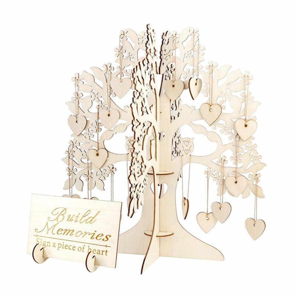 Assinatura Livros de Convidado Do Casamento Da Árvore Árvore De Madeira Corações Pingente Gota Ornamentos Decoração Do Partido d90423