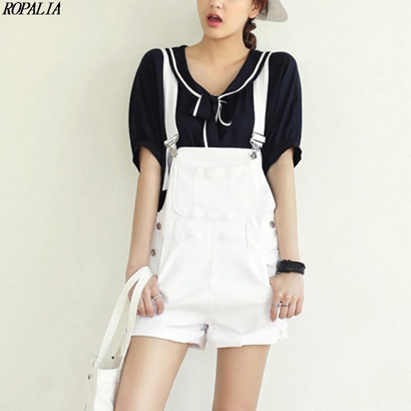 Casual Straps Sweet Denim Pockets Straps   Shorts   Women   Shorts   Casual Loose Overalls