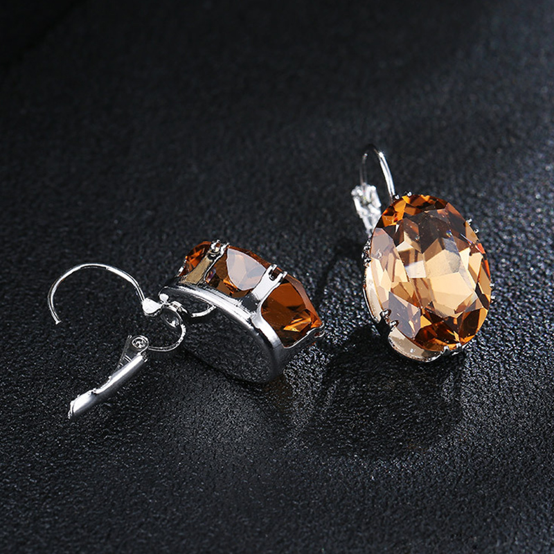 New Fashion Silver Earrings Oval Water Drop 5 Color Big Zircon Stones Drop Earring For Women Valentines Day Gifts in Drop Earrings from Jewelry Accessories