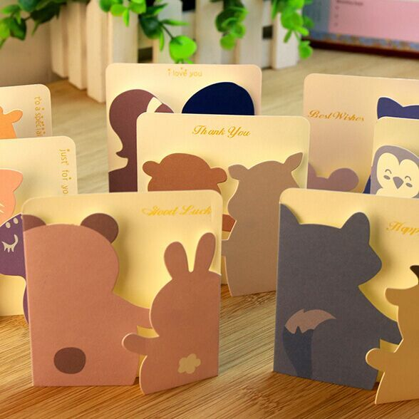Cute Animal Small Gift Cards Creative Mini Greeting Cards For Kids