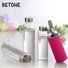 Glass Water Bottle with protective bag Travel Drinkware Port
