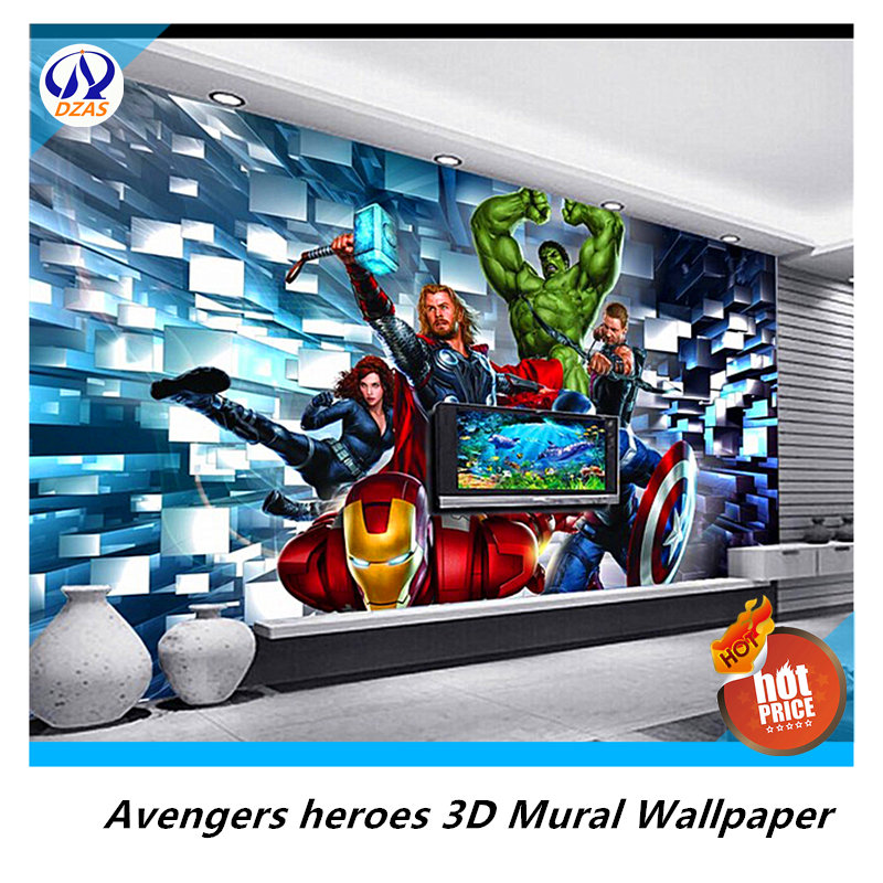 Avengers heroes 3d mural wallpaper 3d non woven wallpaper for Avengers wallpaper mural