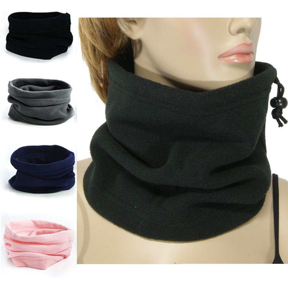 1Pcs New 1 Unisex Beanie Hats Ski Snood Scarf Women Men Thermal Fleece Scarf Snood Neck Warmer Face Mask Winter Spring