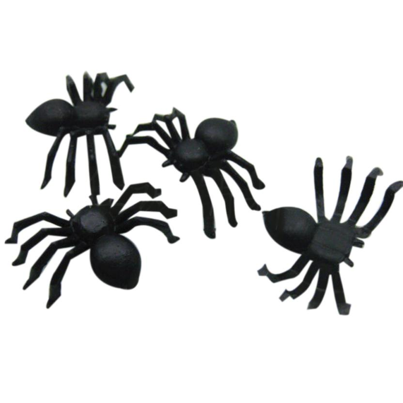 New 20 PCs Halloween Plastic Black Spider Joking Toys Decoration Realistic Party Decoration Supplies Juguetes de Halloween Hot