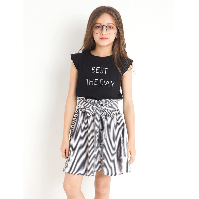 2018 Fashion Summer Big Girls Clothing Sets cotton sleeveless Black T shirt+Skirt children suits clothes kids girl outfits 5-12T