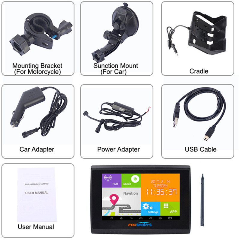 """""""Fodsports"""" 5.0 colių """"Android"""" 4.4.2 """"Motocycle"""" GPS - Automobilių Elektronika - Nuotrauka 6"""