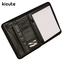 Kicute A4 Executive Conference Folder PU Portfolio Zipped Leather Look Folder Document Organiser Document Holder Office