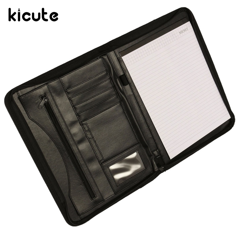 Kicute Executive Conference Folder Pu Portfolio Zipped Leather Look Doent Organiser Holder Office Supplies
