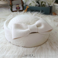 Wool Felt Hat Fedora Beret Hats For Women Beanie Female Cap Bow Mesh French Trilby Wool Soft Stewardess Hat Gorras Planas