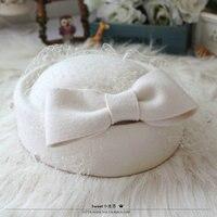 Wool Felt Hat Fedora Beret Hats For Women Beanie Female Cap Bow Mesh French Trilby Wool Soft Stewardess Hat Gorras Planas