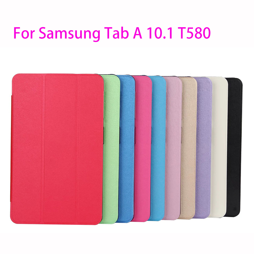 Transparent Trifold Case For Samsung Galaxy Tab A A6 10.1 2016 T580 T585 T580N SM-T580 Cover Case Funda Tablet Leather Shell все цены