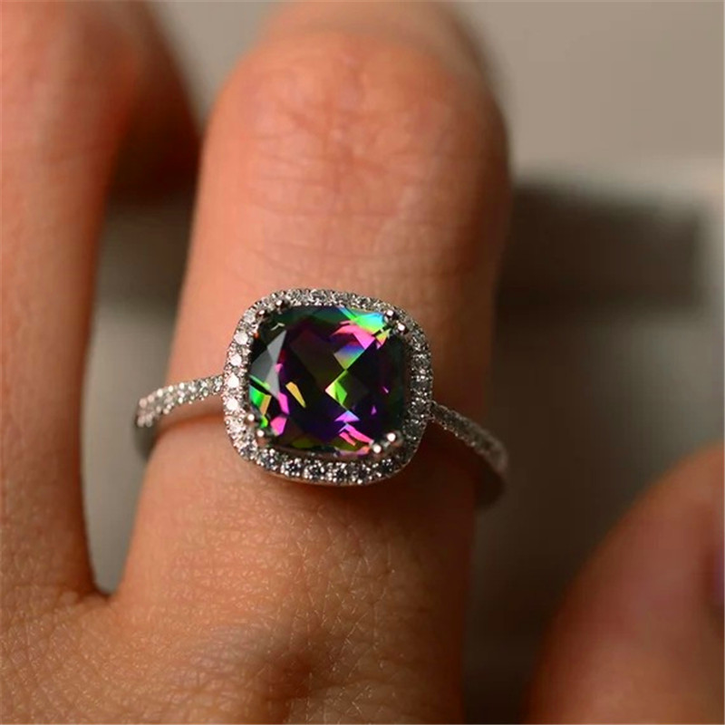 925 Silver Filled Multicolor Birthstone Engagement Weddiing Gemstone Ring 302