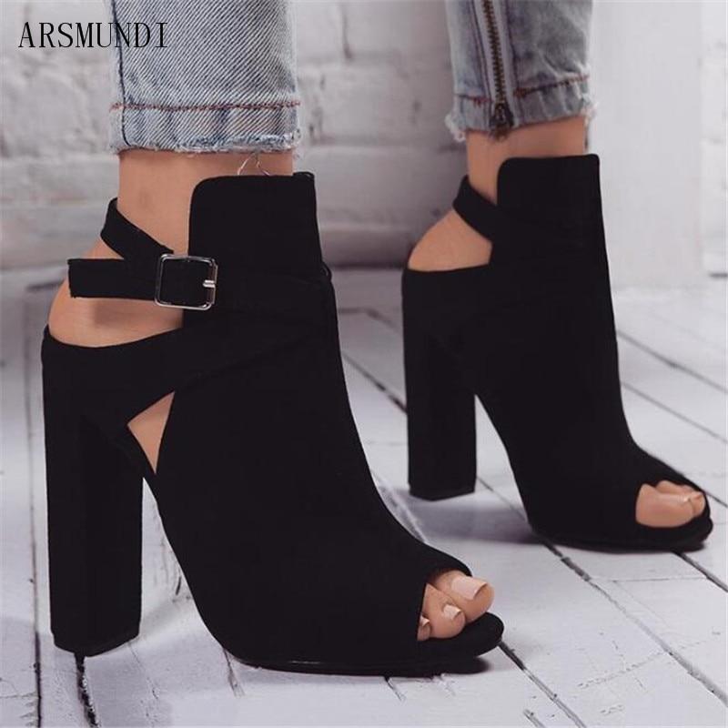 ARSMUNDI 2019 Flock Women Sandals Gladiator High Heels Buckle Strap Shoes Fashion Summer Ladies Large Size 35-42 M312