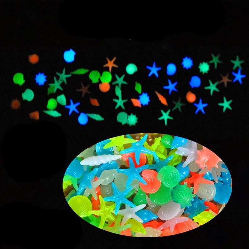 Aquarium Decorative Glow Stone Luminous Fake Pebbles Marine Life Seashells Solar Garden Ornament Marbles Fish Tanks Decoration