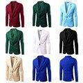 Forme a Hombres de Negocios Casual Slim Fit Un Botón Blazer Suit Capa de la Chaqueta de Algodón Color Puro Macho 009