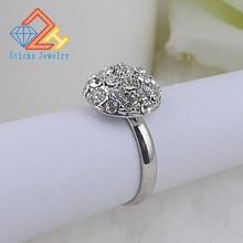 Anillo Vintage con diamantes de imitación para mujer, sortija con forma redonda, con diamantes de imitación chapados en rodio, elegante