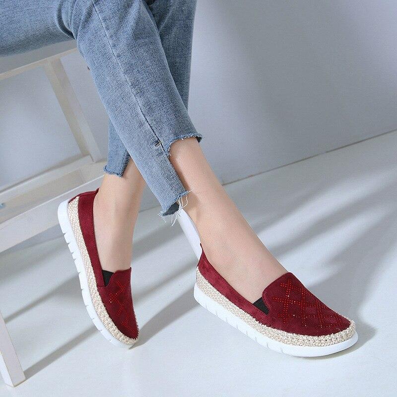 Femmes black Mocassins Sur Talon Glissement Strass Femme Chaussures Bout Printemps Apricot Pour Des Appartements Automne Mode Rond red Plat rCwTxrctqf