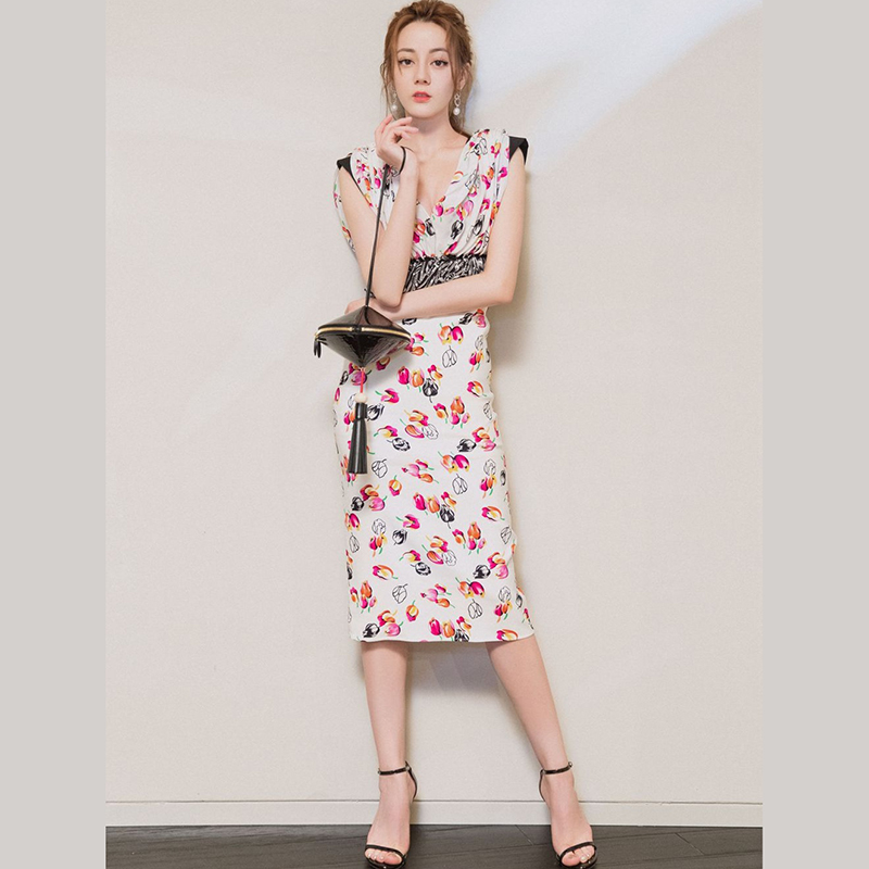 Women Runway Dress 2019 High Quality Summer V neck Sleeveless Ruffles Printed Sexy Pencil Dresses NP0418MF