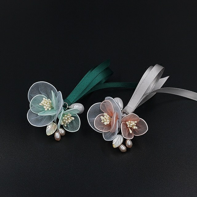 Elegant Handmade Brooch Pearl Yarn Flower Ribbon Stylish Brooches Gift For Her Baby  Green Baby Pink Wedding Bride Party Ceremony Gift