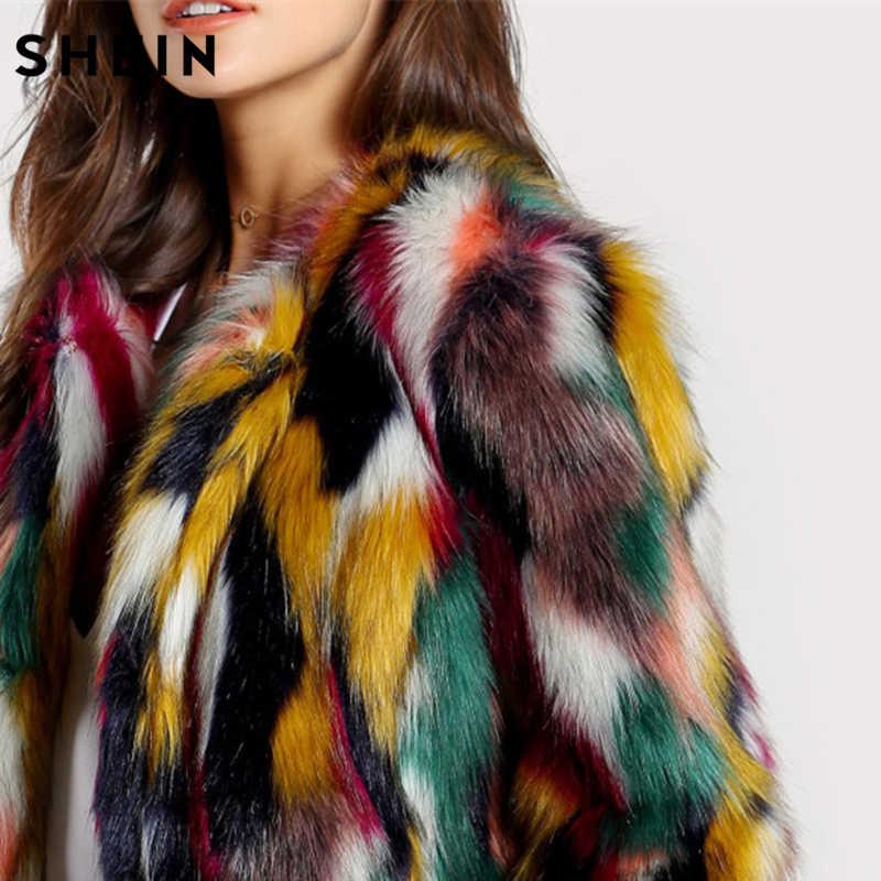 731dd2f50 ... SHEIN Women Elegant Fur Coats Colorful Faux Fur Coat Multicolor Long  Sleeve Collarless Casual Woman Winter ...