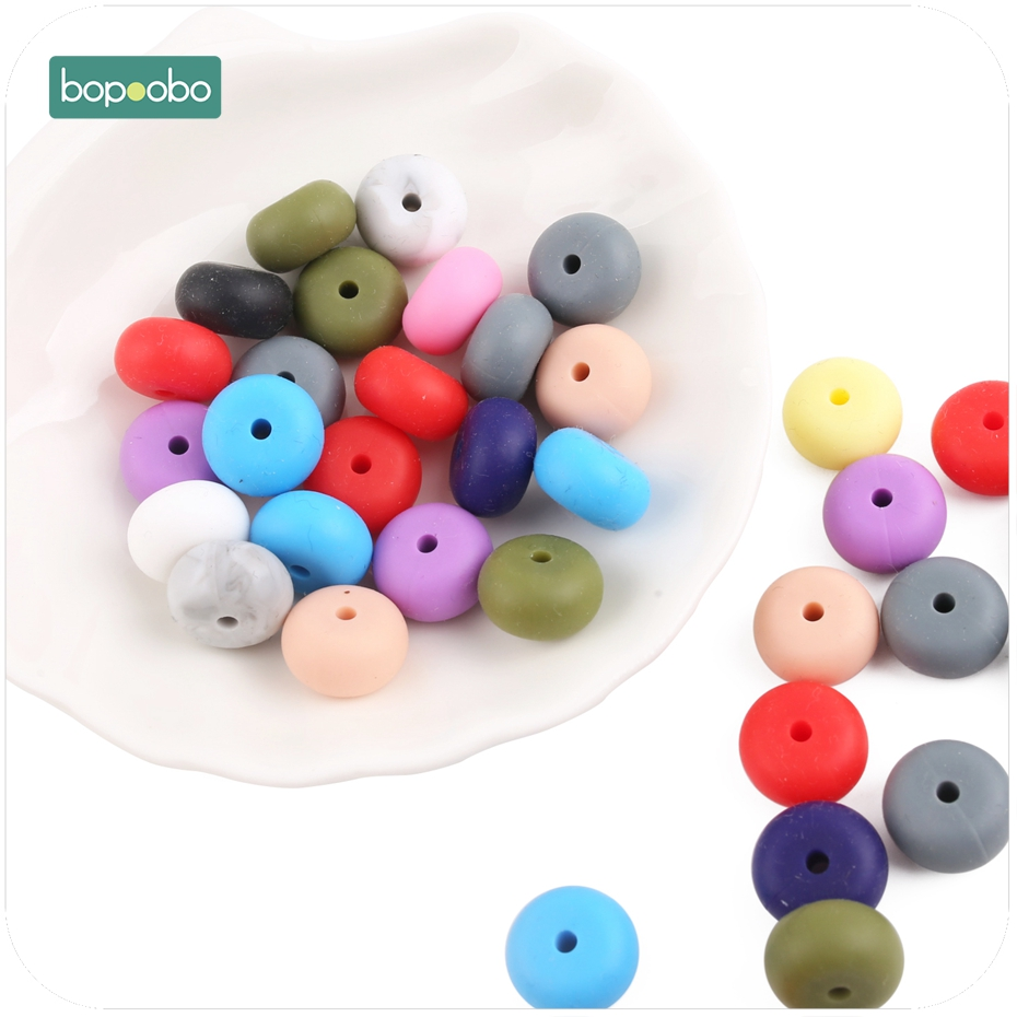 Bopoobo 10pc Silicone Beads Abacus Lentils Soft Pastel Colorful Sensory DIY Crafts Chewable Organic Beads Baby Teether 14mm