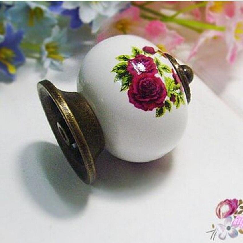 10pcs free shipping Retro fashion rural ceramic furniture knobs bronze drawer cabinet knobs pulls purple rose porcelain handles