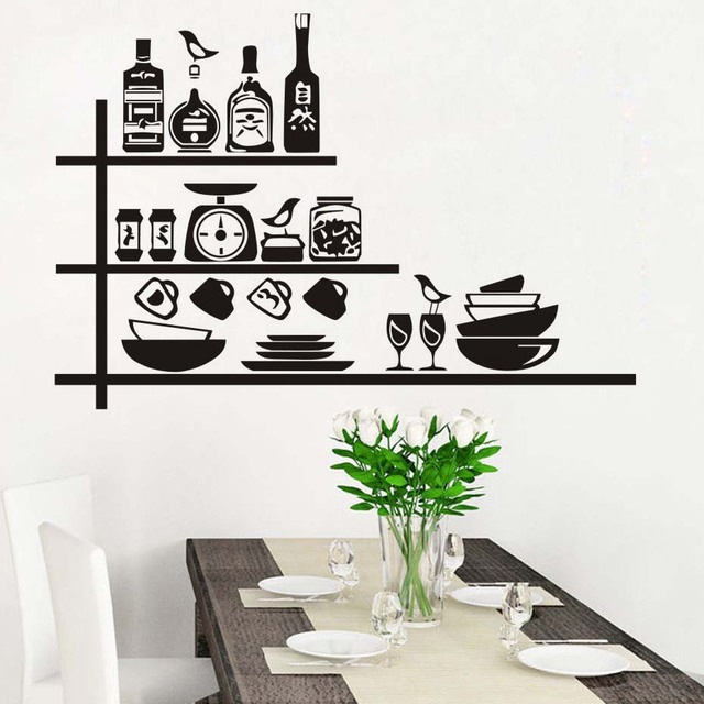 diy wallpaper for kitchen dining room crockery spices on shelf wall