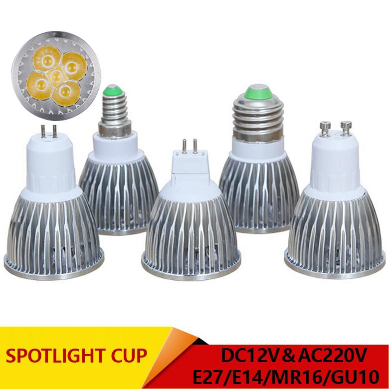 Super Bright Spotlight LED Lamp LED Spotlight DC AC 12V 3W 4W 5W High Quality GU10 MR16 E27 E14 Spot Light Lampada LED Bulb 220V