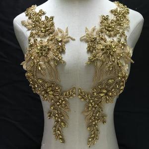 Image 1 - Avec des strass en or, avec appliques en cristal, pour mariée, corsage de luxe, Haute Couture, en perles lourdes