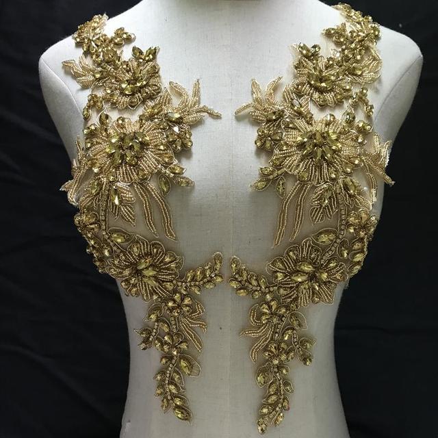 Avec des strass en or, avec appliques en cristal, pour mariée, corsage de luxe, Haute Couture, en perles lourdes