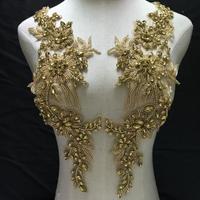Gold Rhinestone bodice applique crystal bodice applique for bridal, deluxe rhinestone bodice for haute couture, heavy bead hand