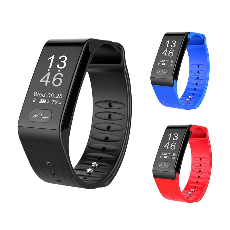 ECG PPG Pulsera presión arterial Monitor de frecuencia cardíaca Inteligente banda Bluetooth rastreador de Fitness Pulsera Inteligente de los hombres