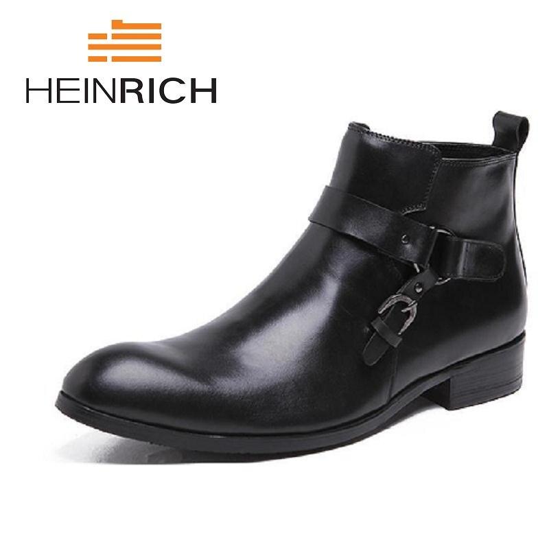 Chaussures Masculino En Cuir Heinrich Hiver De D'affaires Bottes Hommes Travail Zipper Cowboy brown Chelsea Black Véritable Occasionnels Sapatos qzGLUjMVSp