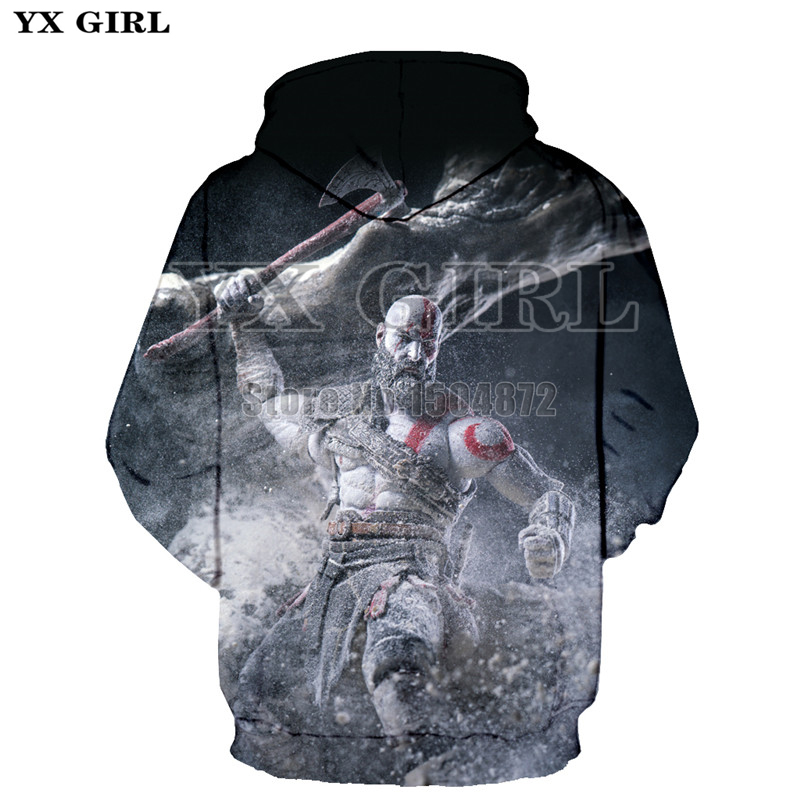 2018 New Clothes Women Men 3d God of War Kratos Printed Hoodies Unisex Spring Autumn Hooded Sweatshirt Funny Hip Hop Pullover in Hoodies amp Sweatshirts from Men 39 s Clothing