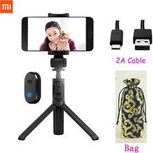 Mini tripé xiaomi dobrável, bastão de selfie com bluetooth, mini tripé para celular, obturador remoto sem fio para iphone 8 x huawei