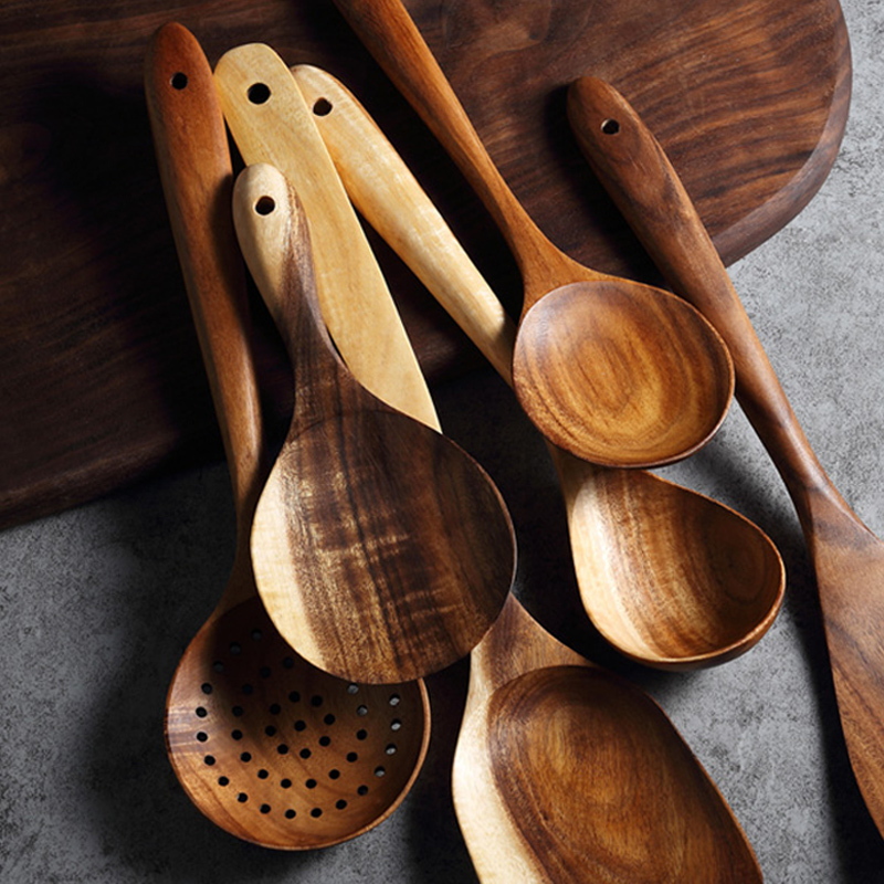 Us 649 35 Offwooden Kitchen Utensils Cooking Spoon Rice Paddle Long Handled Spoon Ladle Salad Mixing Serving Spoon Cooking Tools Accessories In