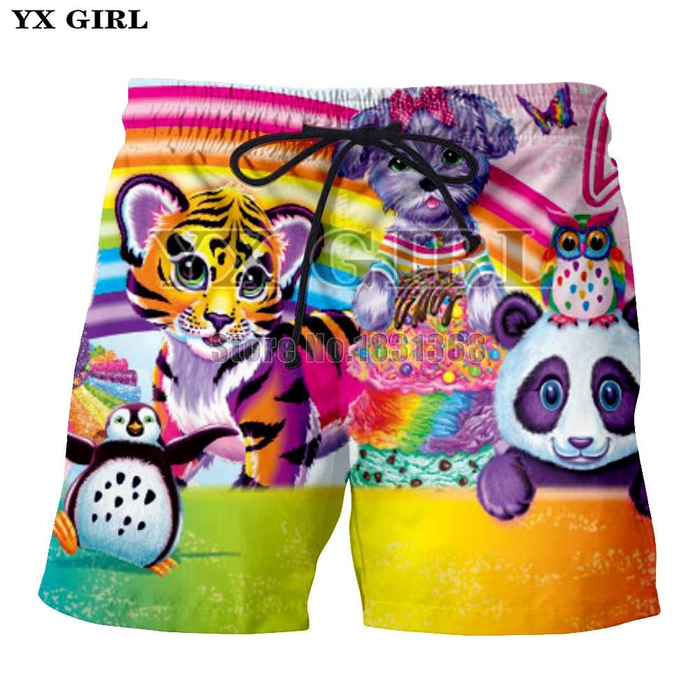 YX GIRL 2018 Lisa Frank shorts Men/Women Fashion Shorts Anime Print 3d shorts plus size S-5XL Drop shipping ...