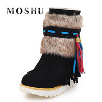 2017 Women Winter Snow Boots Female Flock Fringe Beaded Suede Nubuck Ankle High Boot Plush Insole