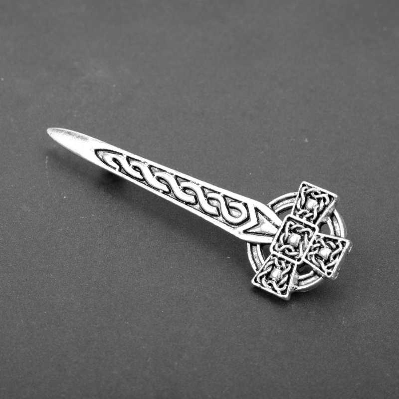 Vintage Silver Screen Celtics Simpul Kilt Pin Bros TV Perhiasan Outlander Skotlandia Thistle Cross Pedang Bros Wanita Pria
